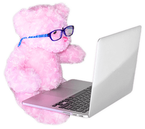Pink Molly Bear on Laptop with Glasses